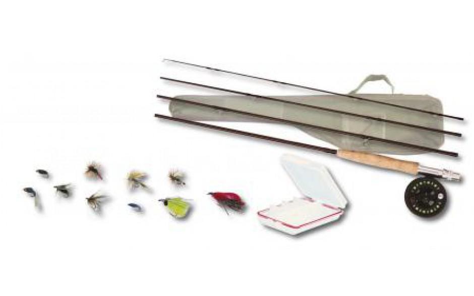 Profi Fliegen Set Fliegenrute & Fliegenrolle & Schnur & Vorfach mit Fleigen